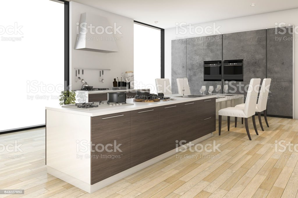3d rendering contemporary wood kitchen with dining zone stock photo