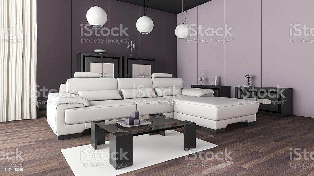 3d rendering cool purple light living zone stock photo
