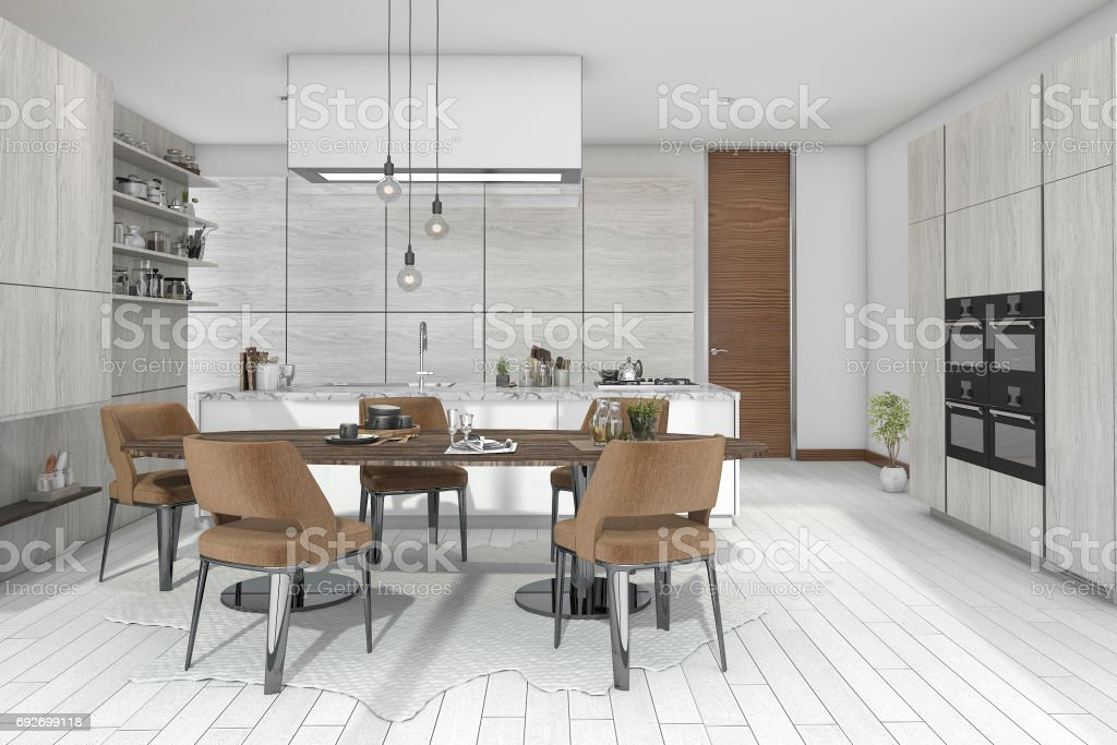 3d rendering dining set in wood kitchen and living design stock photo