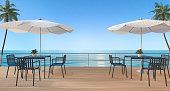 3d rendering dining set on wood terrace near sea