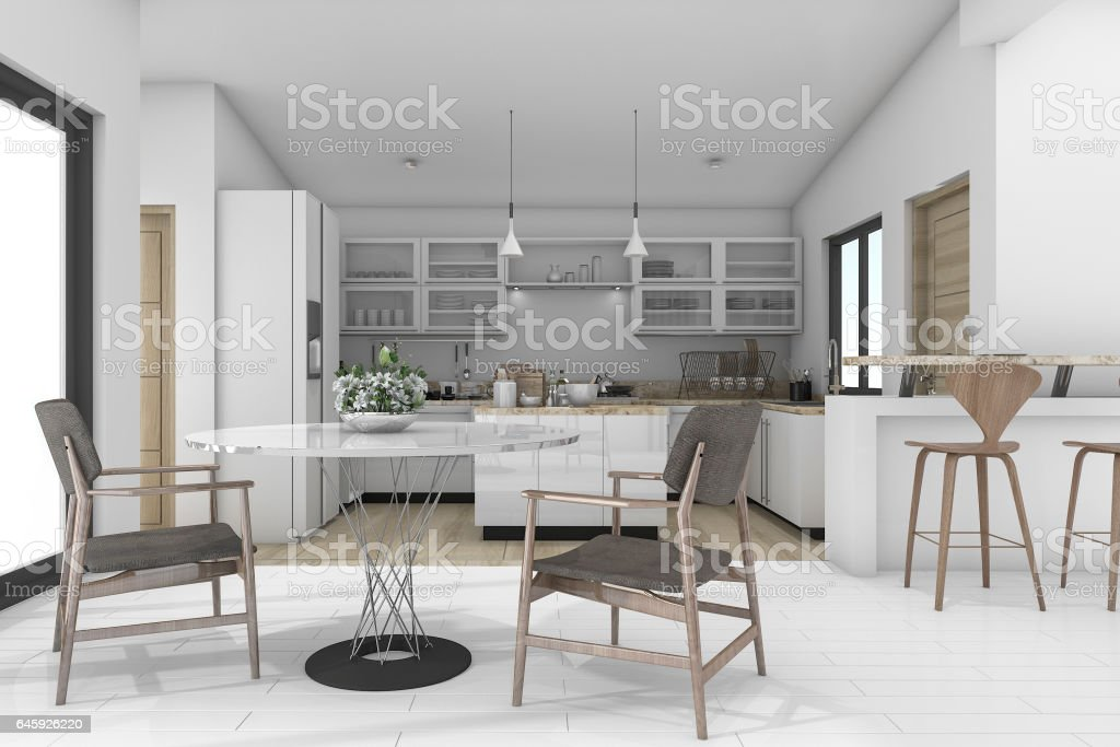 3d rendering dining zone in contemporary kitchen stock photo