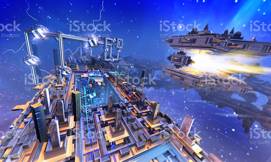 3d rendering - Futuristic structures and spaceship. vector art illustration