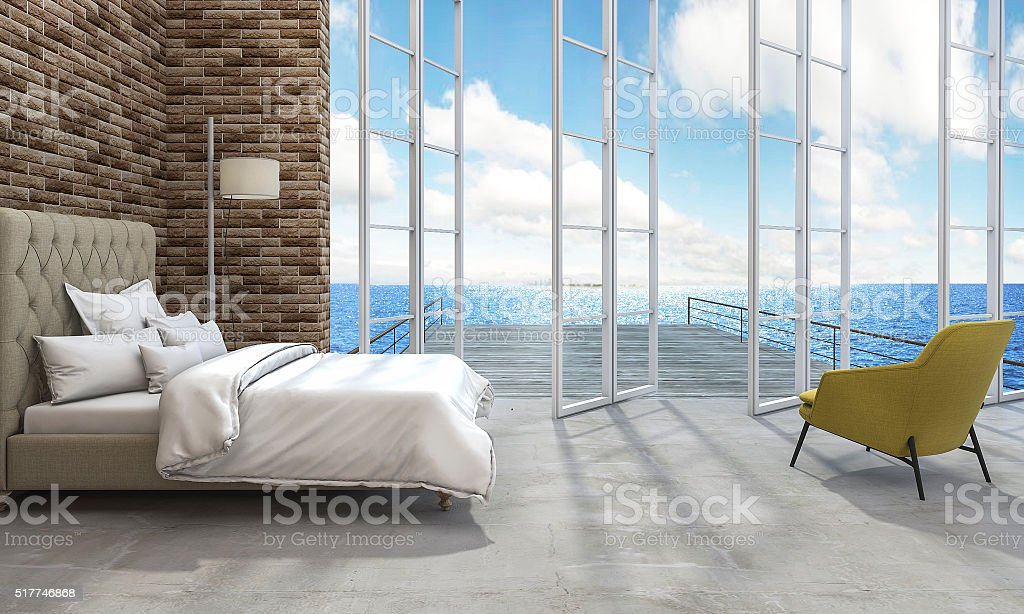 3d rendering good sea view bedroom stock photo