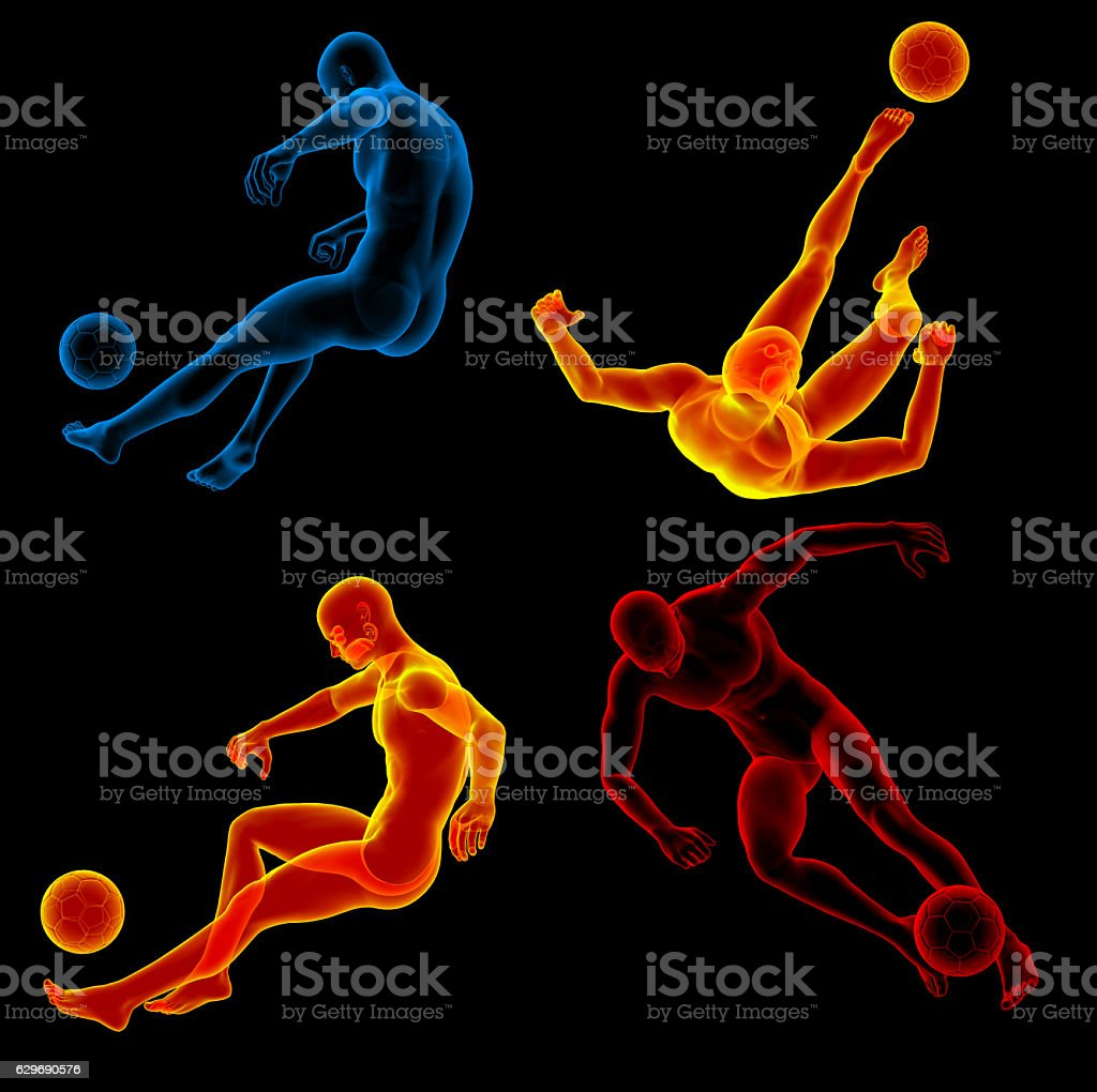 3d rendering illustration of the human kicking ball stock photo