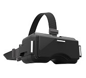 3d rendering image of black VR headset on white background