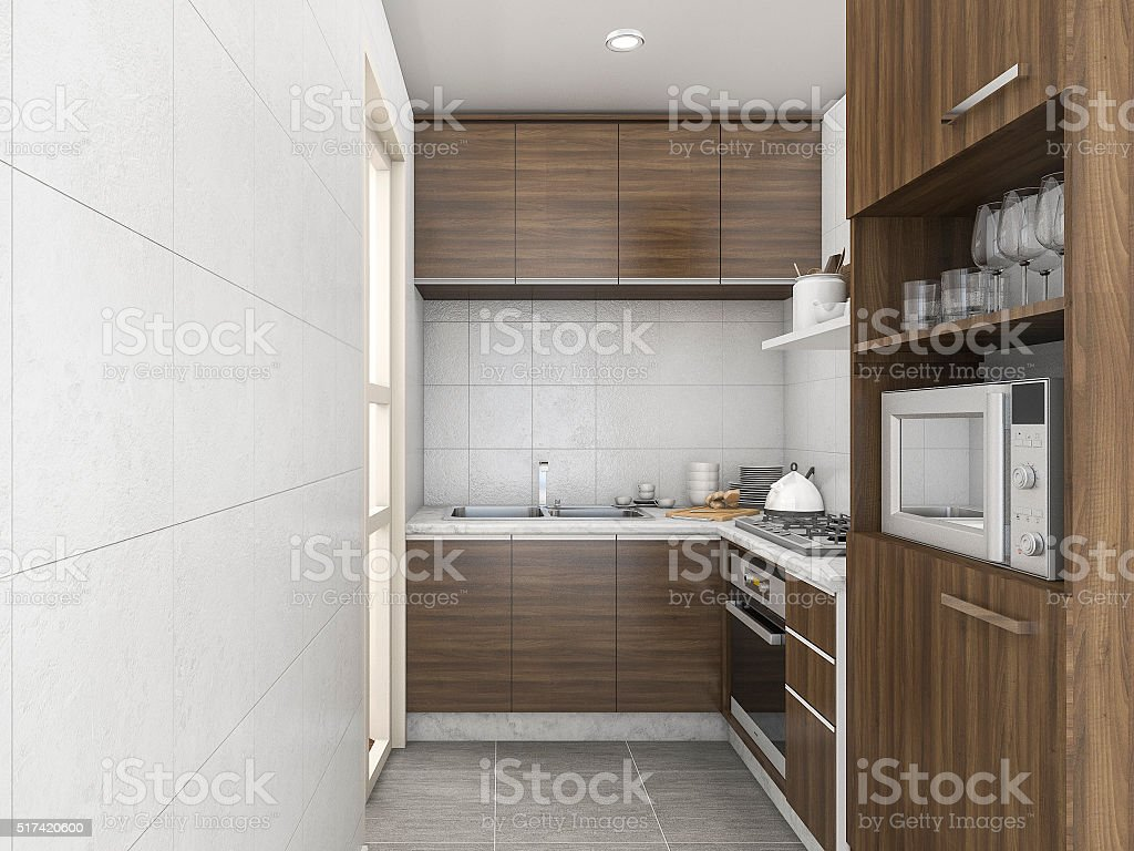 3d rendering laminate gloss kitchen with many accessory stock photo