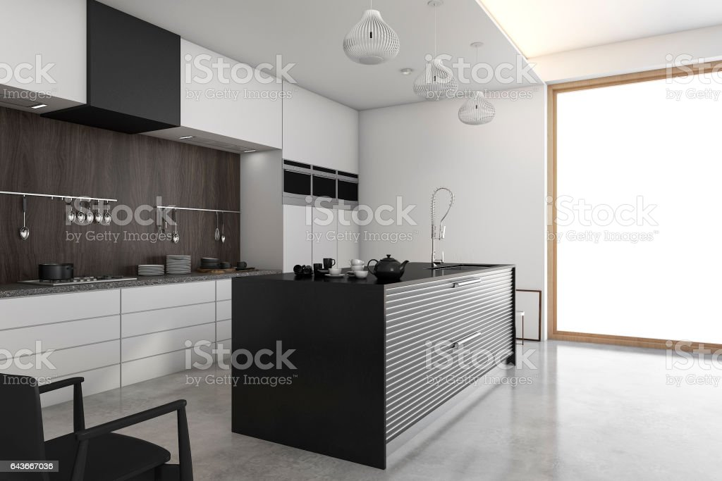 3d rendering loft modern kitchen near window stock photo