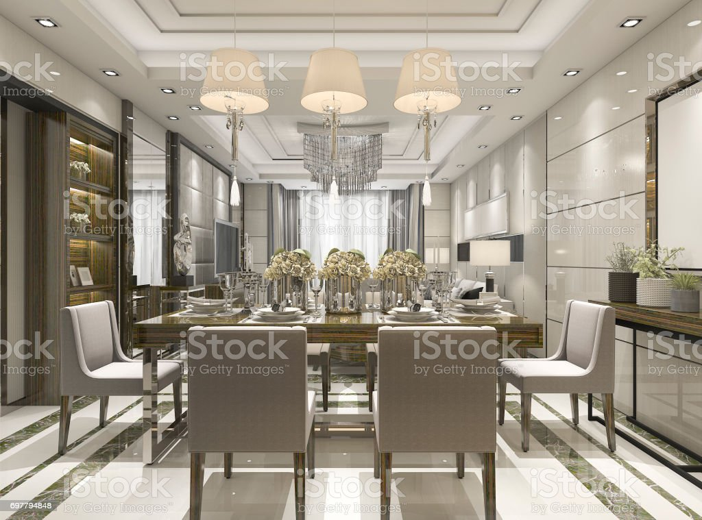 3d rendering luxury and modern restaurant and dining zone stock photo