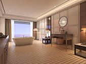 3d rendering luxury bathroom with classic furniture near sea