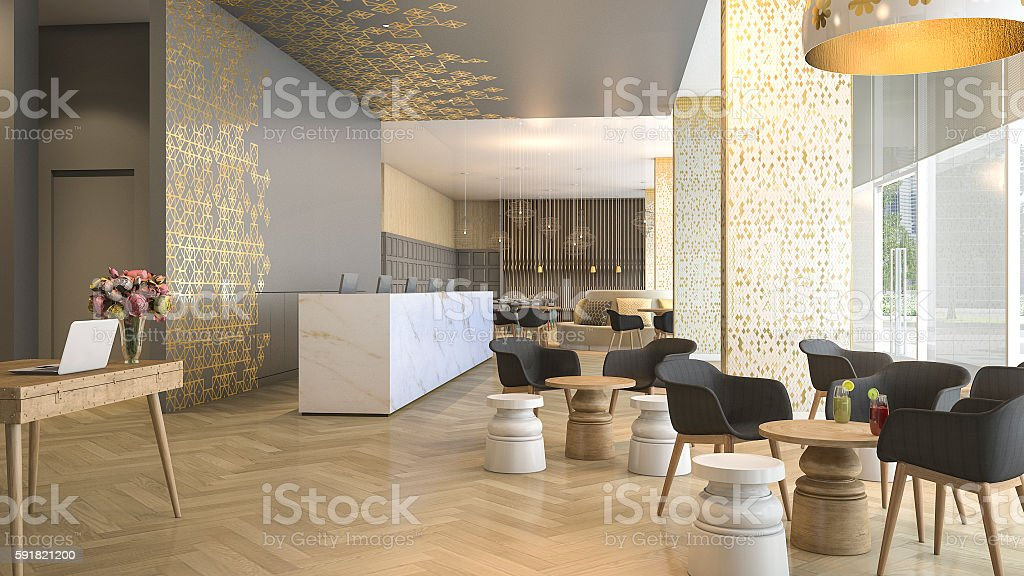3d rendering luxury hotel reception and lounge stock photo