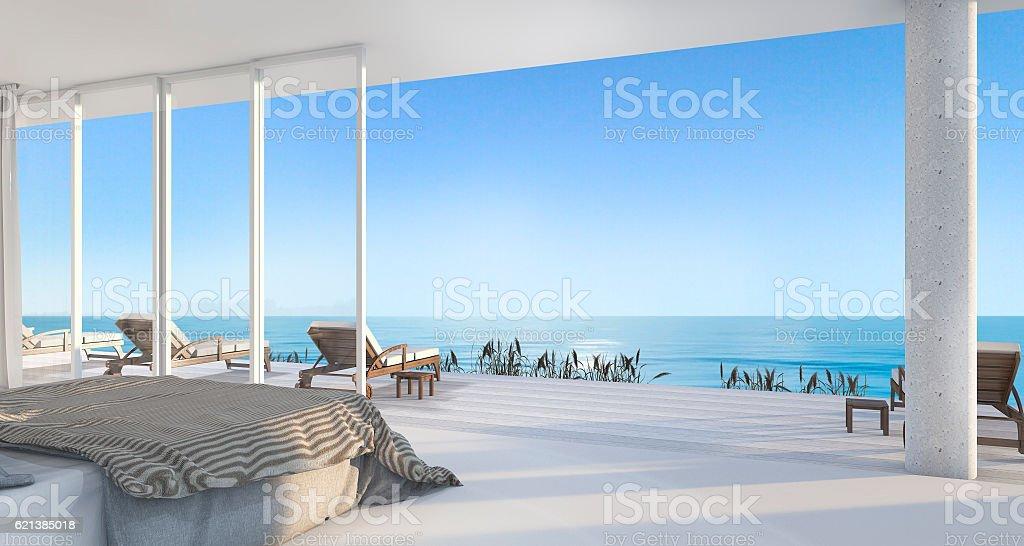 3d rendering luxury villa bedroom near beach stock photo