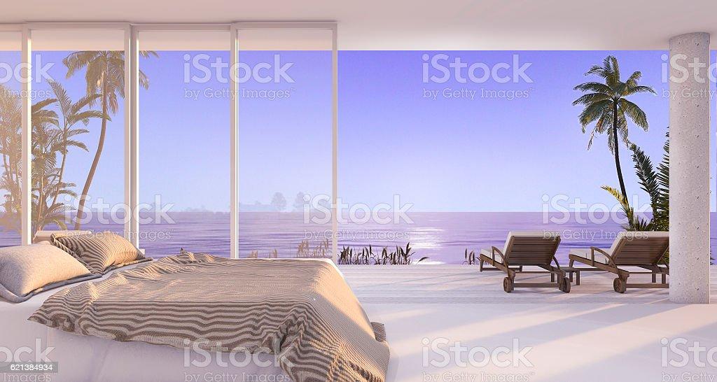 3d rendering luxury villa bedroom near beach with evening scene stock photo