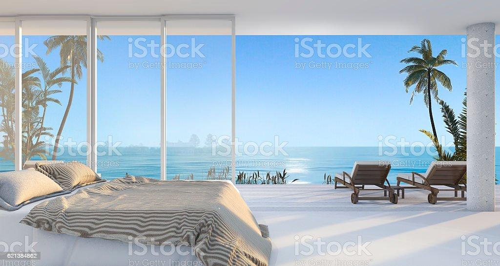 3d rendering luxury villa bedroom near beach  with  morning scene stock photo