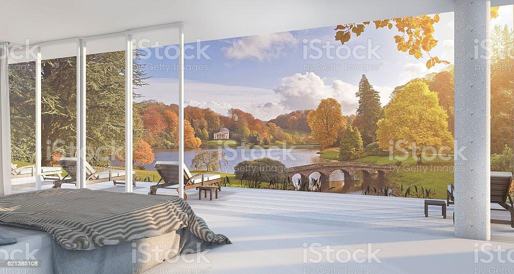 3d rendering luxury villa bedroom near garden stock photo