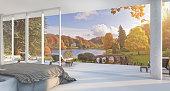 3d rendering luxury villa bedroom near garden
