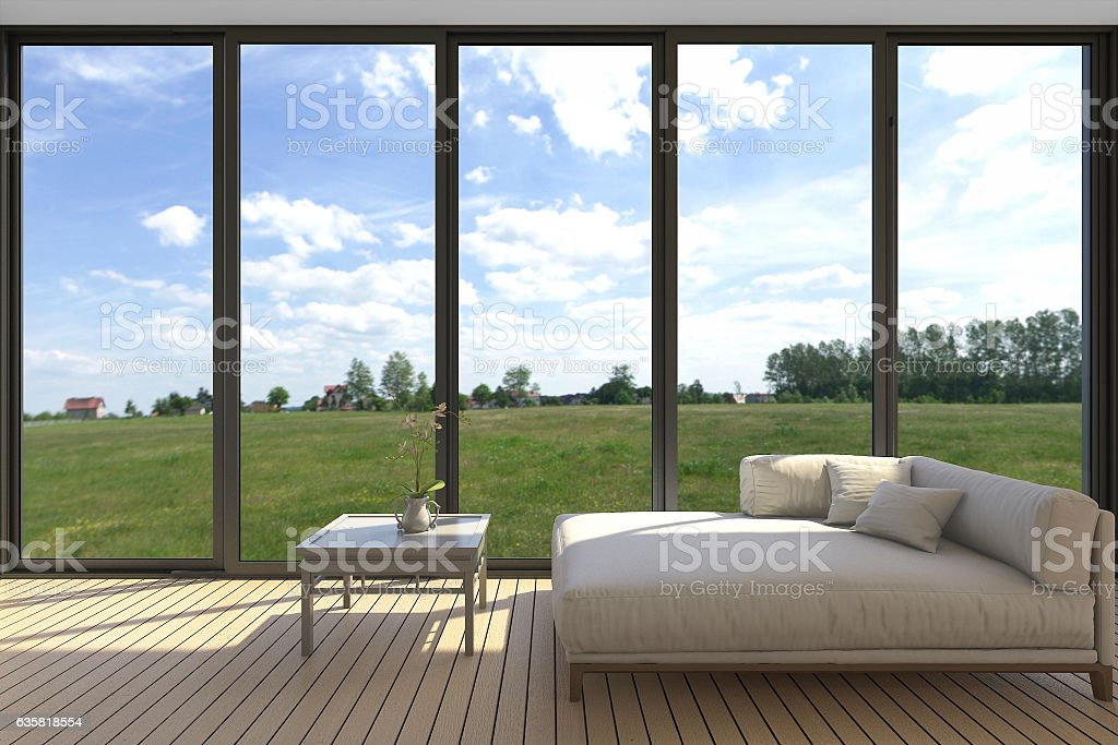 3d rendering minimal sofa scene with wide nice green view stock photo