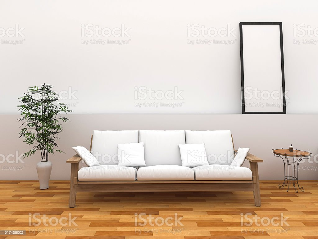 3d rendering minimal style room with vintage style bench stock photo
