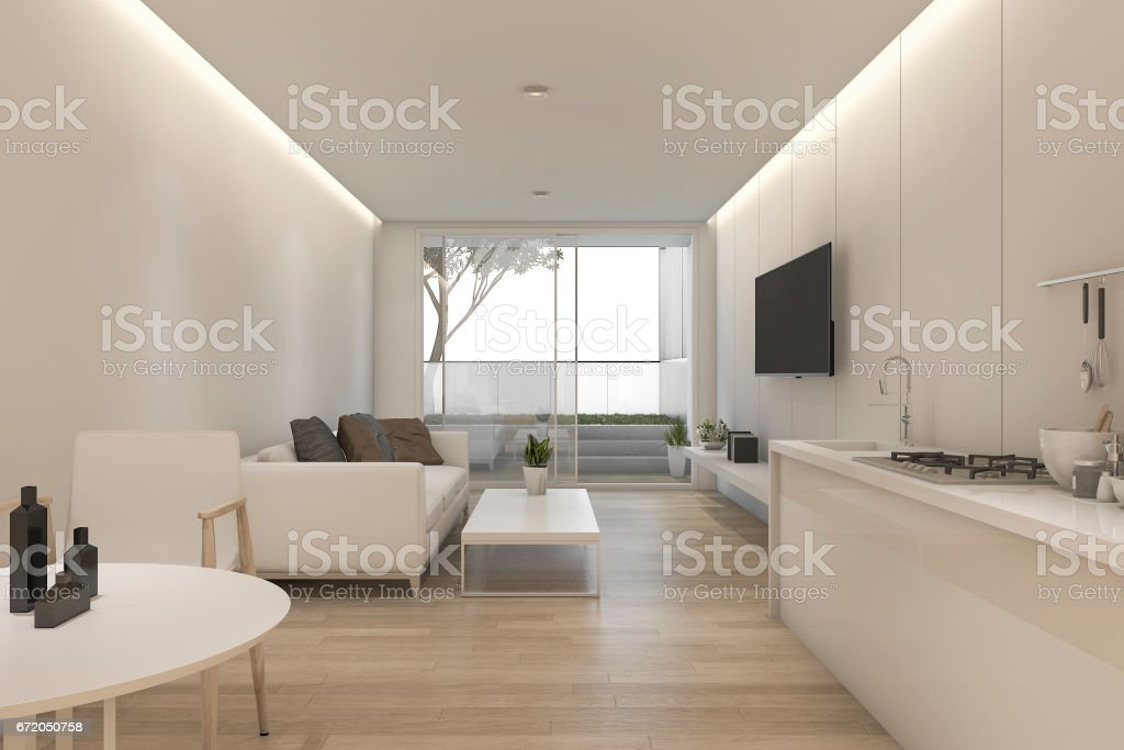 3d rendering minimal white living room and kitchen with decor stock photo