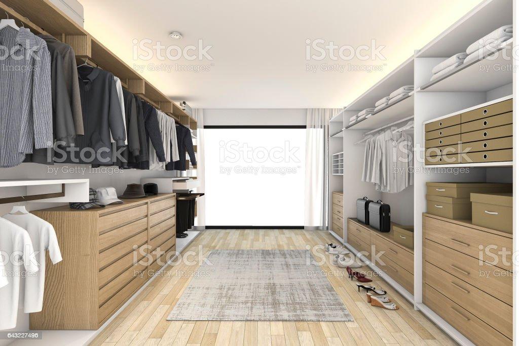 3d rendering minimal white wood walk in closet stock photo