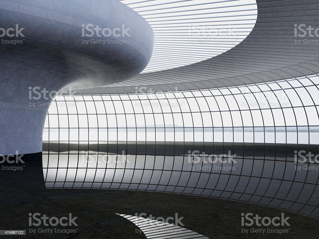 3d rendering. Modern airport passenger terminal. Modern Architecture stock photo