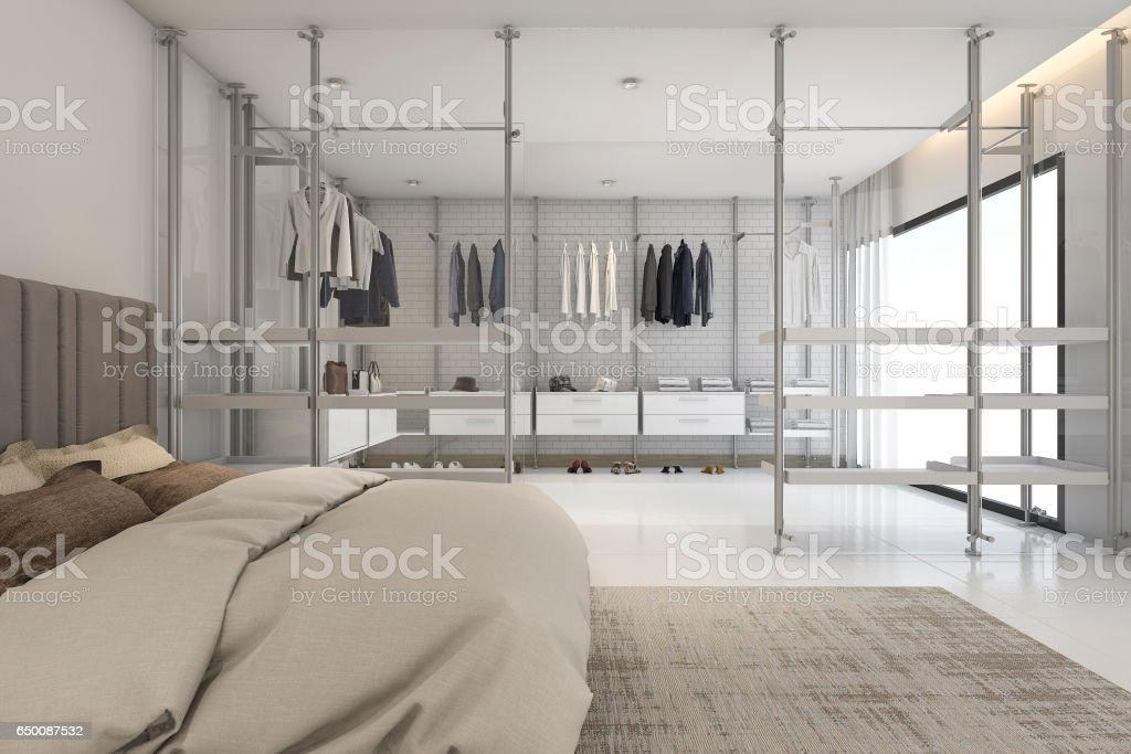 3d rendering modern bedoom with walk in closet and wardrobe stock photo