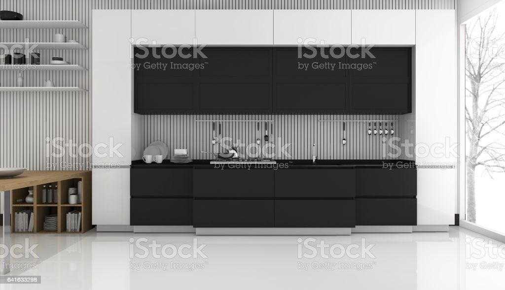 3d rendering modern black and white kitchen in winter stock photo
