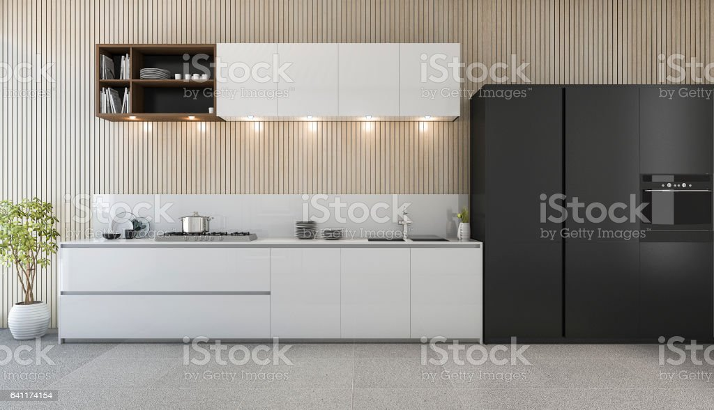 Rendering Modern Kitchen Counter With White And Black Design