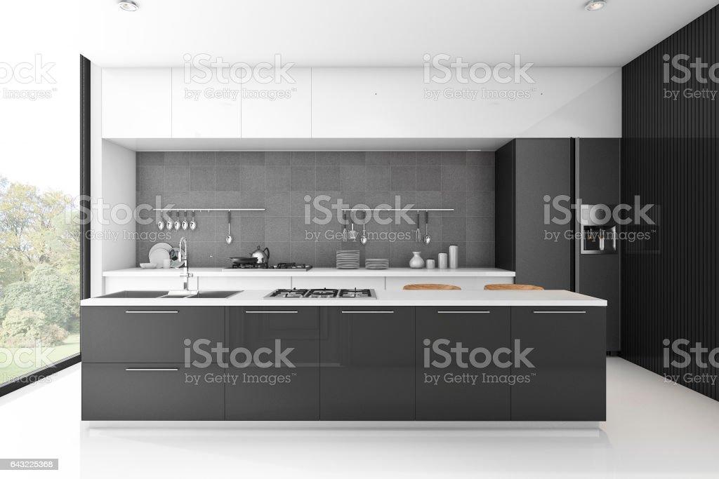 3d rendering modern loft black kitchen with tile stock photo