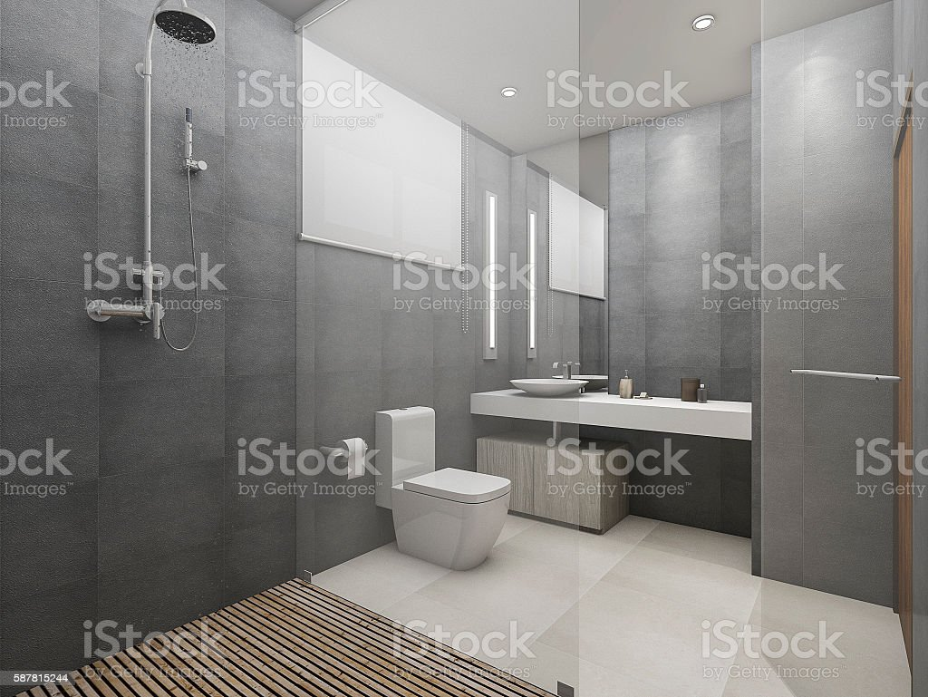 3d rendering modern loft toilet and shower with wood floor stock photo
