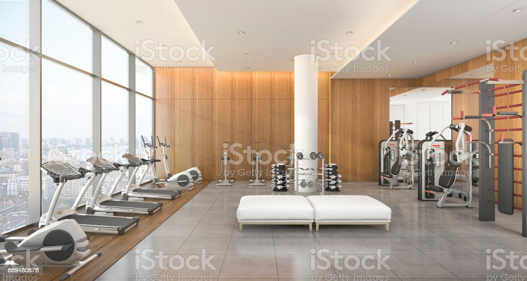 3d rendering modern wood gym and fitness with city view stock photo