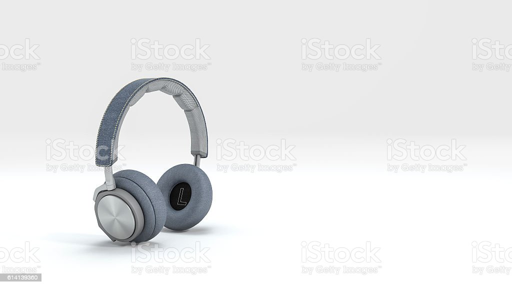 3d rendering nice blue headphone isolate in white background stock photo