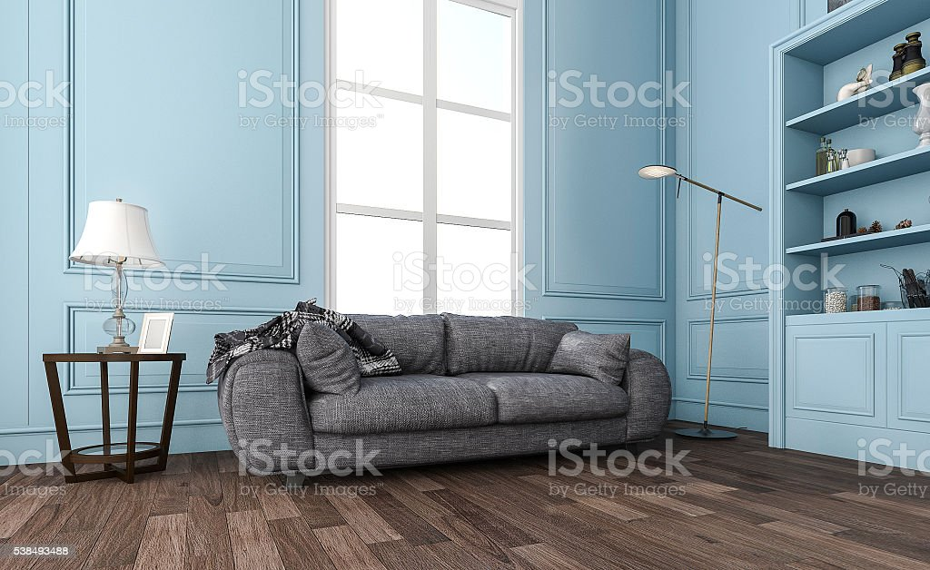 3d Rendering Nice Blue Living Room With Comfortable Sofa Stock Photo · Man  Installing New Laminate Wood Flooring ...