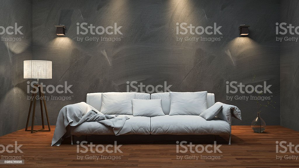 3d rendering nice long sofa in minimal studio room stock photo