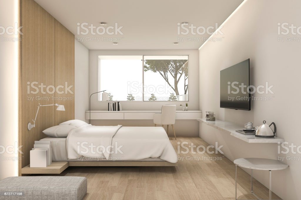 3d rendering nice minimal bedroom with tv and pouf stock photo