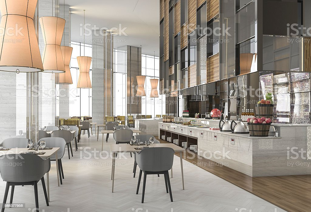 3d rendering nice restaurant with elegant decoration stock photo