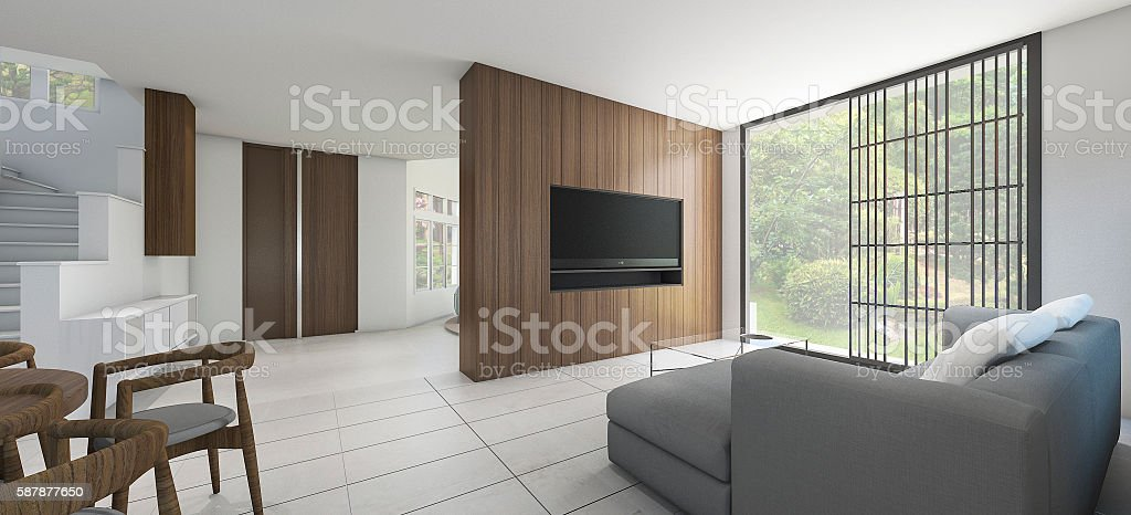 3d rendering nice view living room with warm atmosphere stock photo