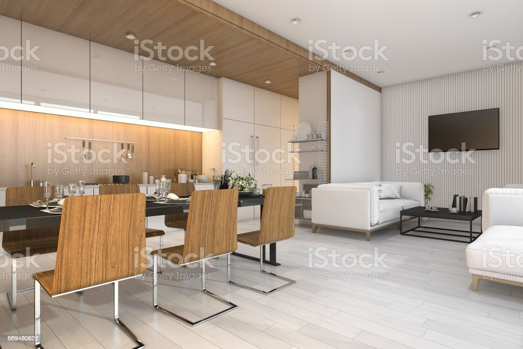 3d rendering nice wood kitchen and dining room with living zone stock photo