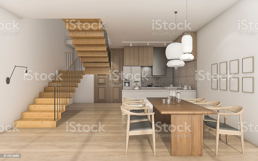 3d rendering nice wood style kitchen with dining table stock photo