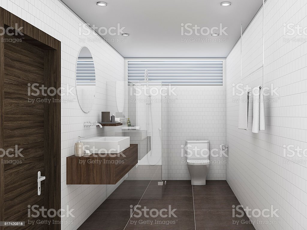 3d rendering oak wood and white brick tile wall bathroom stock photo