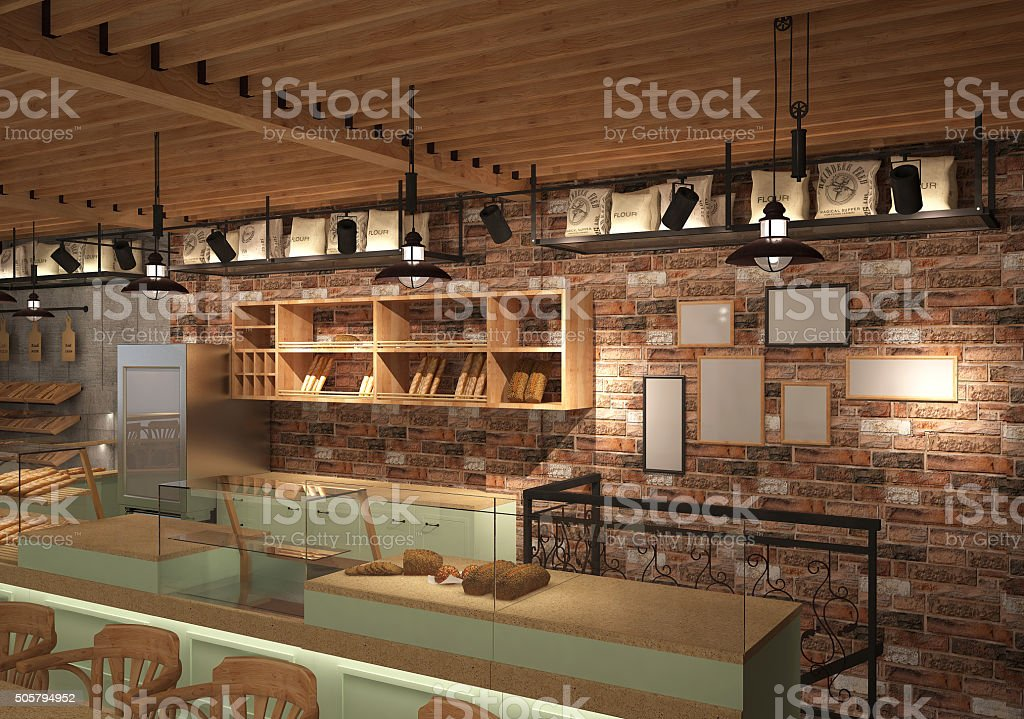 3d rendering of a bakery shop interior design stock photo