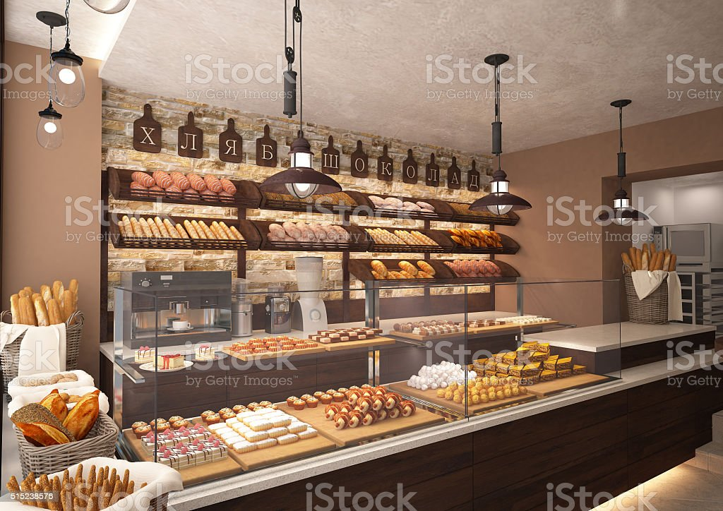 3d rendering of a bakery shop interior stock photo