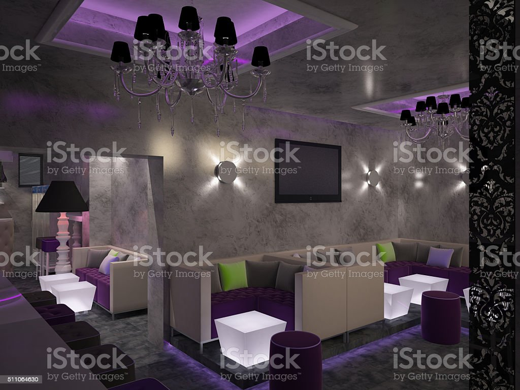 3d rendering of a bar interior design stock photo