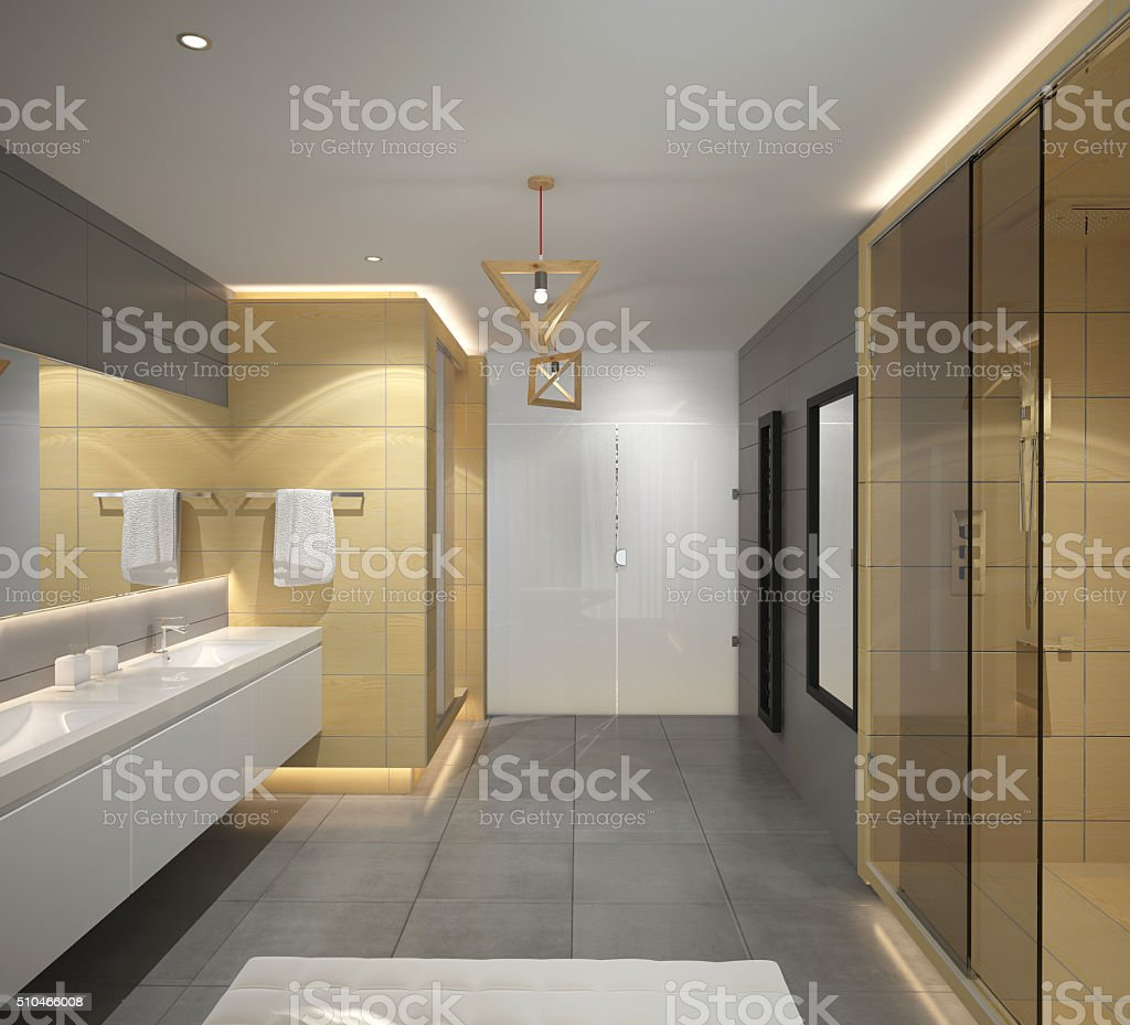 3d rendering of a bathroom interior design stock photo