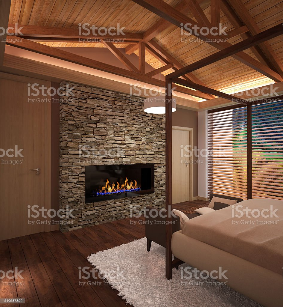 3d rendering of a bedroom interior design stock photo