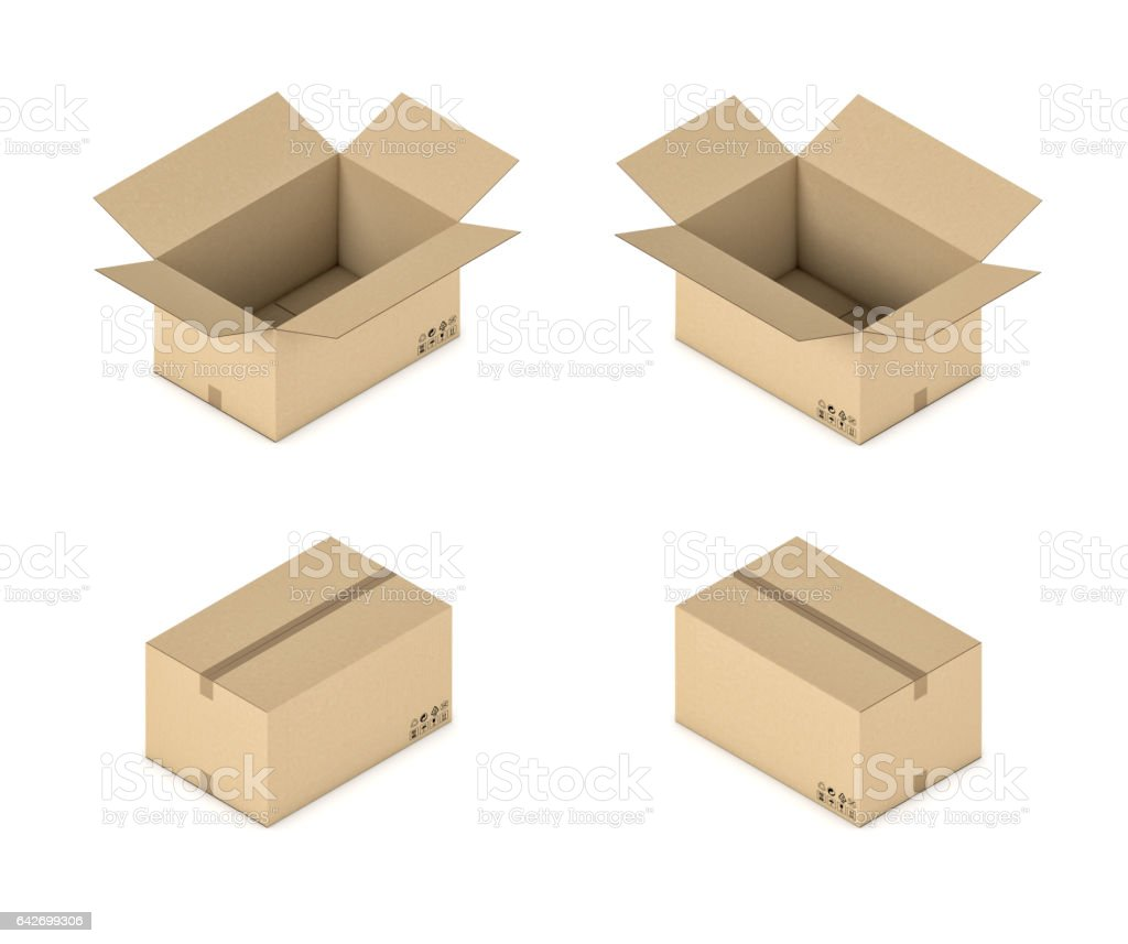 3d rendering of a carton box in open and closed state in double-sided isometric view stock photo