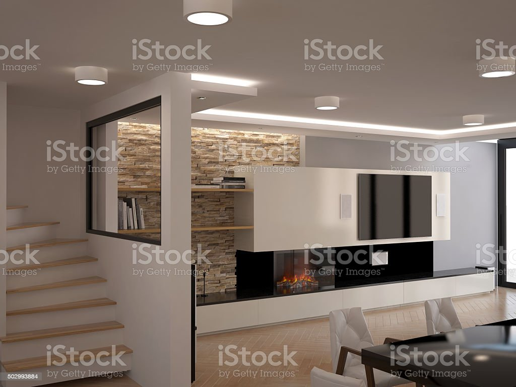 3d rendering of a dining room interior design stock photo