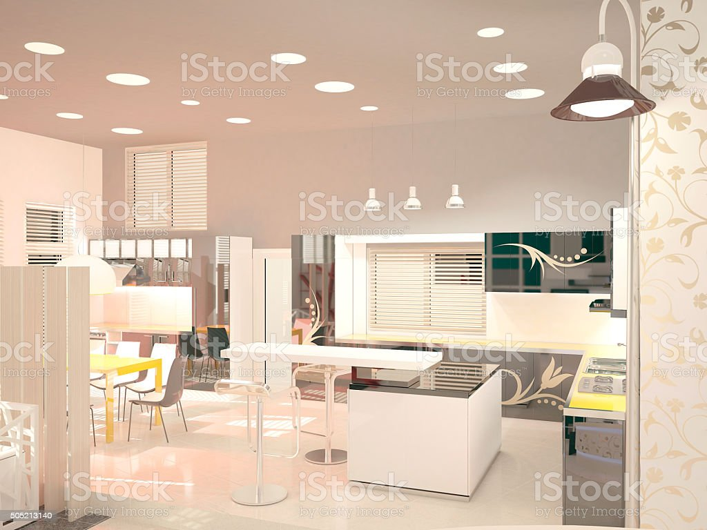 3d rendering of a furniture store interior design stock photo