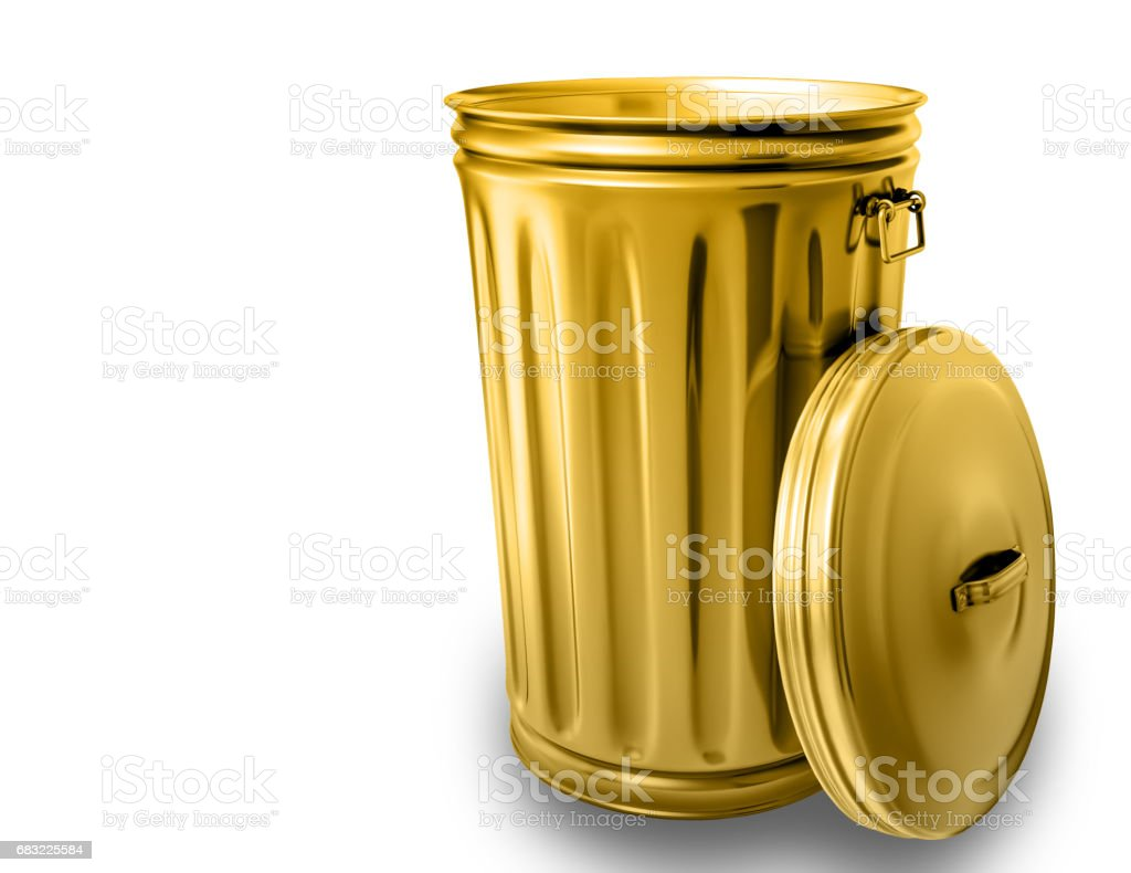 3d rendering of a golden opened trash can isolated against the white background vector art illustration
