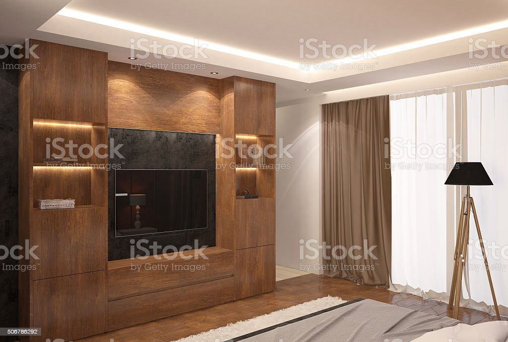 3d rendering of a living room interior design stock photo