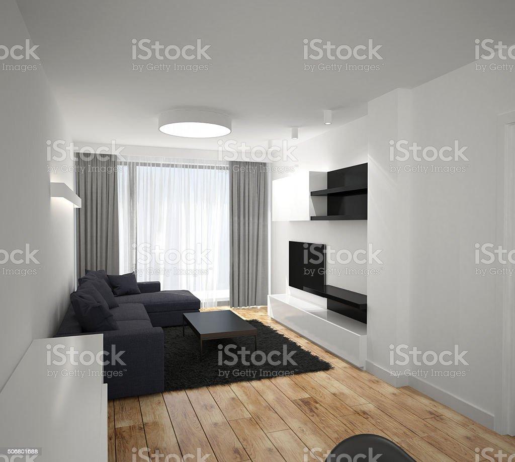 거실 인테리어 디자인의 3d 렌더링 스톡 사진 506801688  iStock